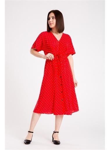 Madame Sare  Kadın Puantiye Desenli Kırmızı Elbise Kırmızı